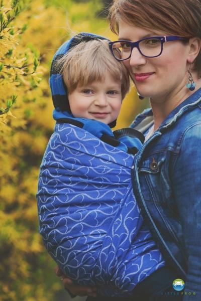 Little FROG Žakárový tkaný šátek na nošení dětí - Blue Hourglasses - L