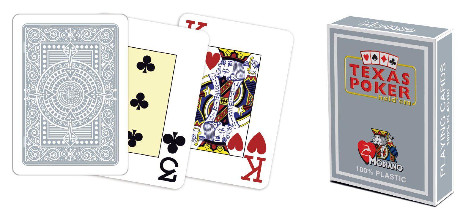 Modiano 2 rohy 100% plastové karty - šedé