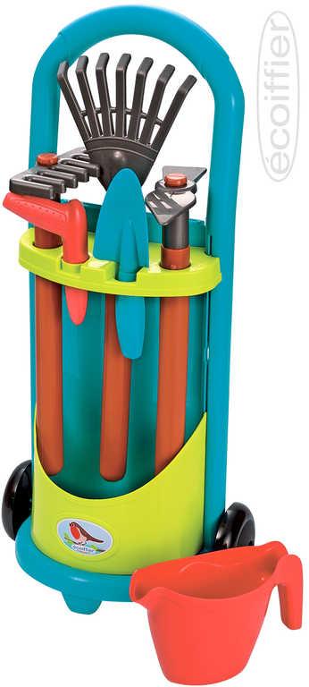 ECOIFFIER Baby vozík zahradní herní set s pracovním nářadím a konvičkou
