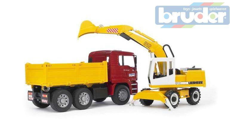 BRUDER 02751 (2751) Nákladní auto MAN sklápěč + bagr