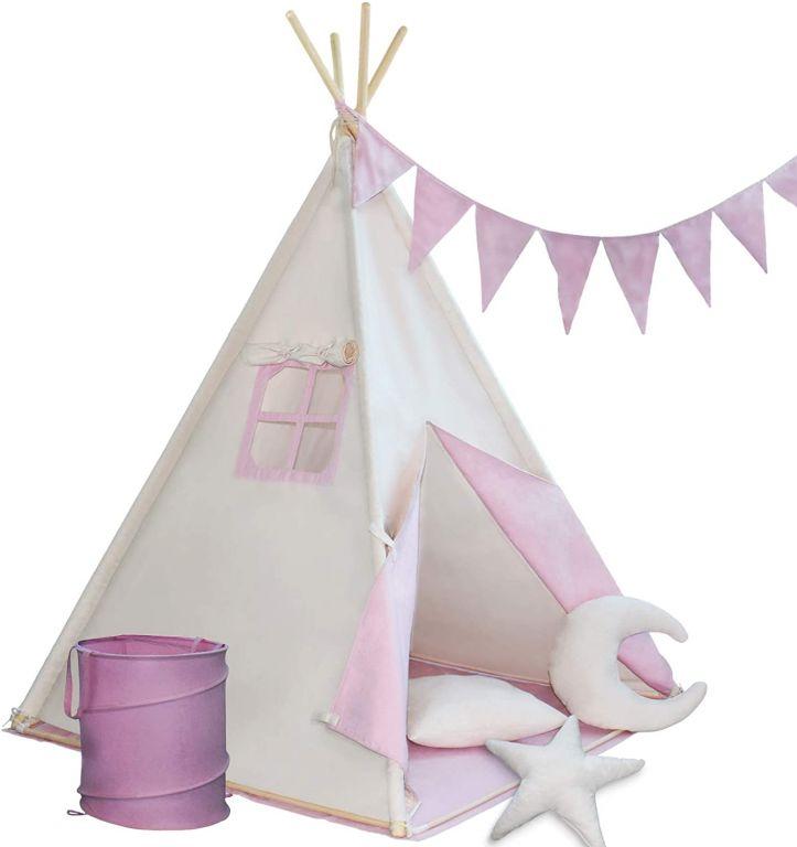 Dětský stan teepee, růžovo/béžový, s příslušenstvím + vlajka