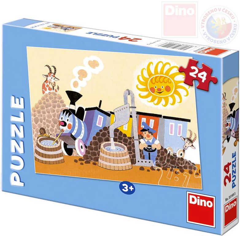 DINO Puzzle 24 dílků Veselá mašinka v depu 26x18cm skládačka v krabici