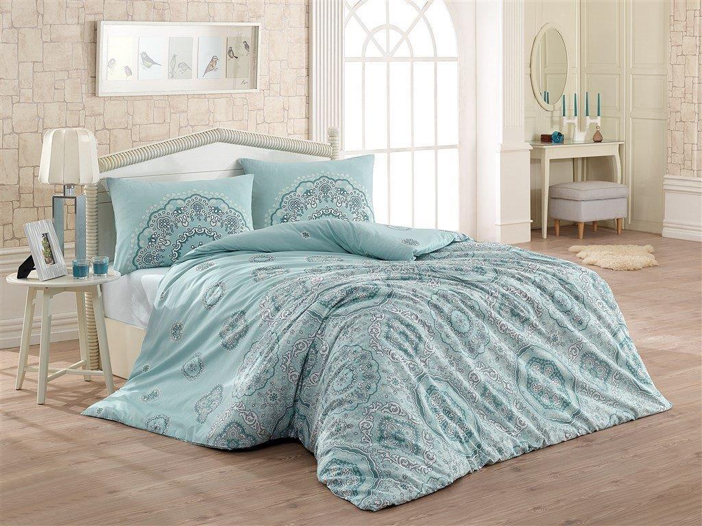 Prodloužené povlečení bavlna 140x220, 70x90cm Mandala blue, Výběr zapínání: zipový uzávěr