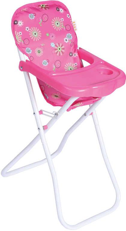 Židlička jídelní skládací pro panenku miminko vysoká 60cm v sáčku kov