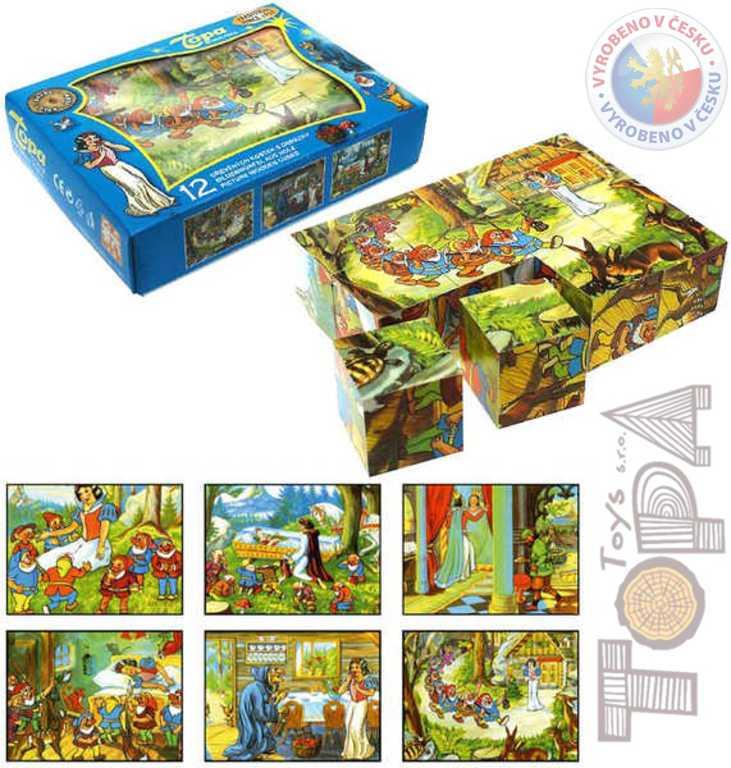 TOPA DŘEVO Kostky (kubus) Sněhurka 12 ks v krabičce