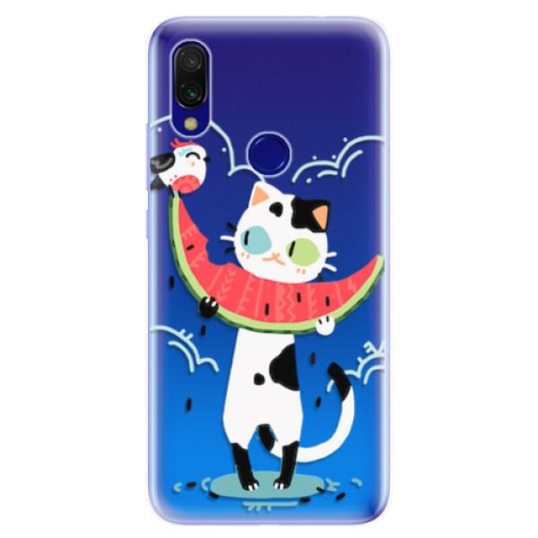 Odolné silikonové pouzdro iSaprio - Cat with melon - Xiaomi Redmi 7