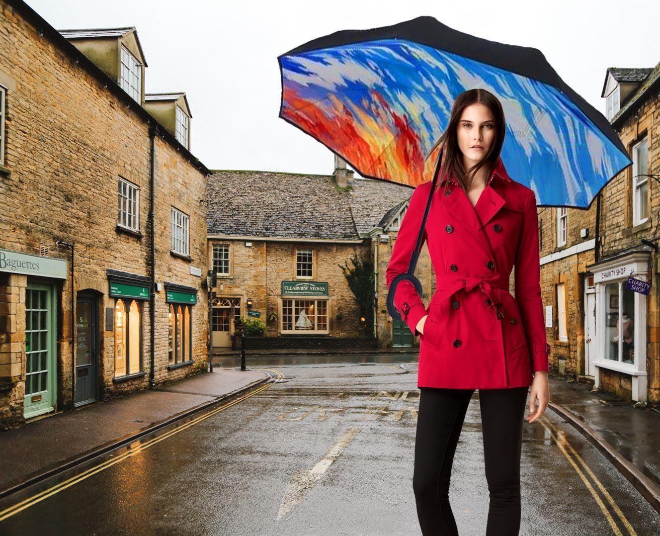 Obrácený deštník - žíhaný