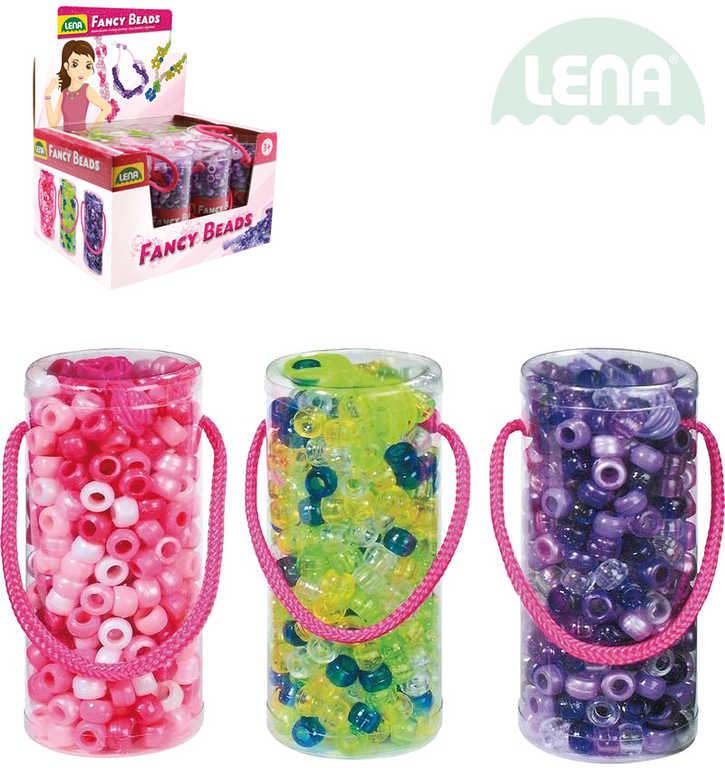 LENA Korálky perly set v doze se šňůrkou různé barvy plast 32720