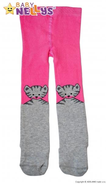 Bavlněné punčocháče Baby Nellys ® - Kočička šedá/ růžová, vel. 92/98 - 92 (18-24m)/98 (24-