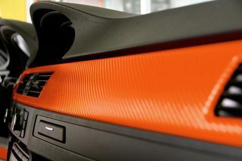 Karbonová fólie 30x127 cm - oranžová
