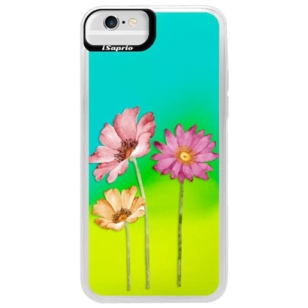 Neonové pouzdro Blue iSaprio - Three Flowers - iPhone 6/6S