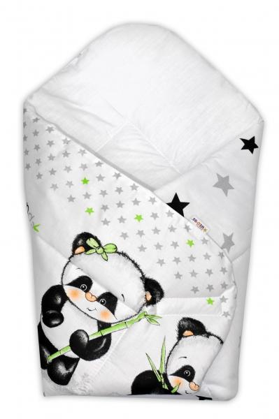 Baby Nellys Novorozenecká zavinovačka Panda - bílá