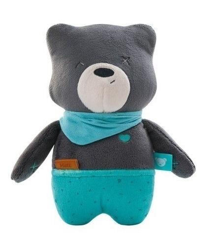 Szumisie Šumící mazlíček Medvídek Matt s aplikací, 24 cm - grafitový/mátová
