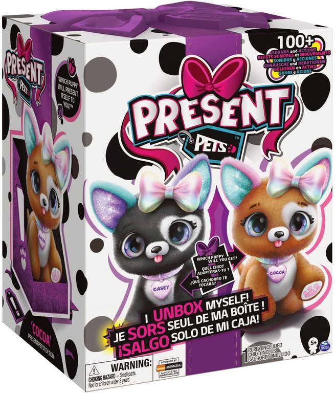 PRESENT PETS Interaktivní mazlíček štěňátko na baterie Zvuk 2 druhy PLYŠ