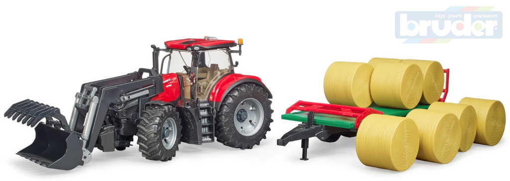 BRUDER 03198 Set traktor CASE IH Optum 300 CVX + čelní nakladač a přepravník balíků