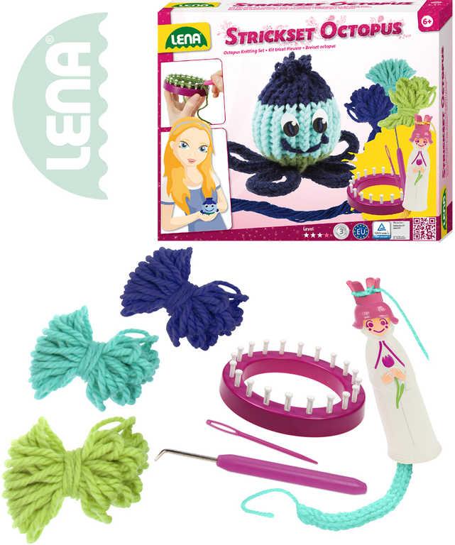 LENA Stav pletací dětský plastový Chobotnice set s vlnou a doplňky v krabici 420