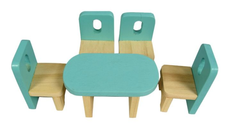 Adam Toys Dřevěný skandinávský nábytek pro panenky, pastelové barvy