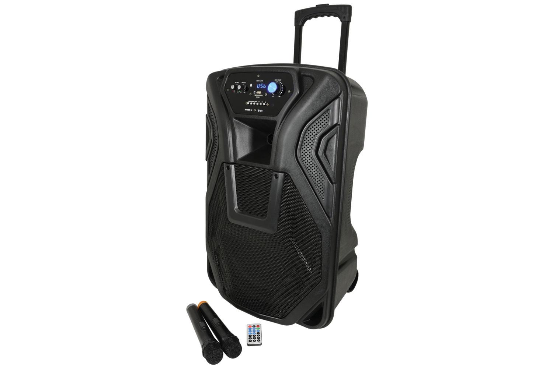 """QTX BUSKER-15 mobilní 15"""" řečnický a zvukový systém MP3/FM/BT/VHF, AKKU, 100W"""