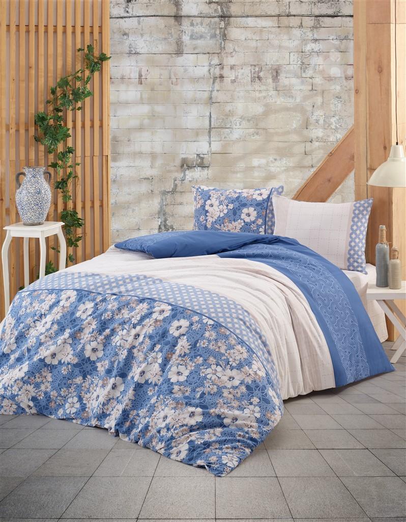 Povlečení francouzské bavlna 220x220,70x90 Dona blue, Výběr zapínání: