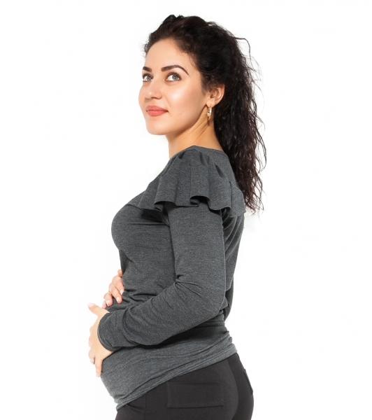 Be MaaMaa Těhotenské triko dlouhý rukáv FANNY s volánkem - tm. šedé