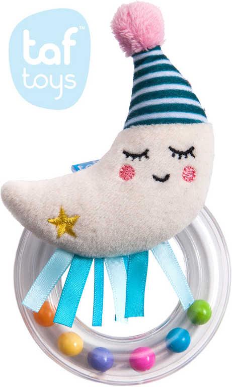 TAF TOYS Baby chrastítko plyšový měsíček s kuličkami pro miminko