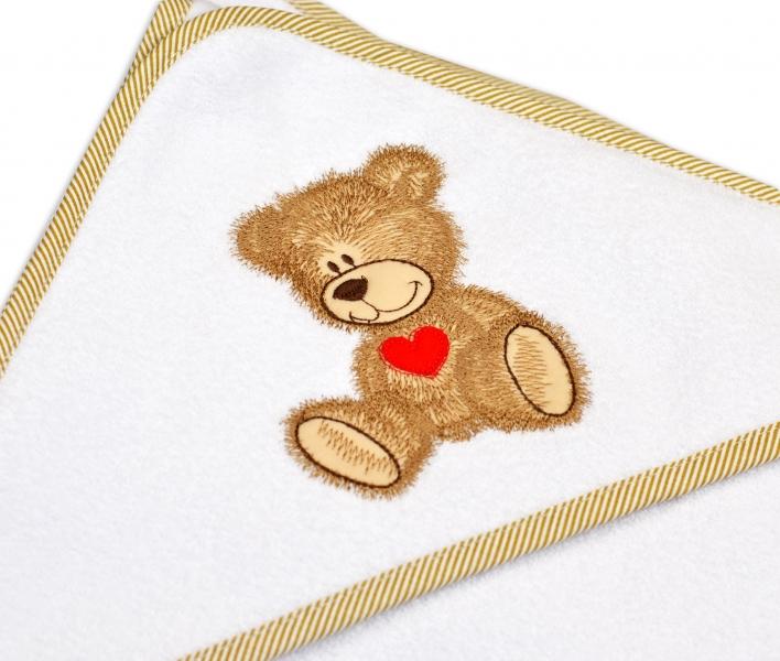 Froté osuška s kapucí Baby Nellys® 100x100cm Sweet dreams by TEDDY - bílá