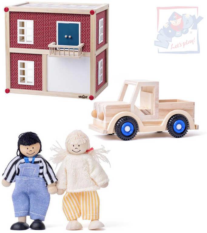 WOODY DŘEVO Moderní vila domek pro panenky herní set se 2 panáčky a autíčkem