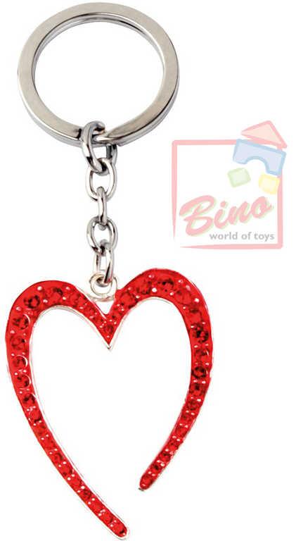 BINO Přívěsek zdobený s drahokamy srdce červené 10cm na klíče kov v sáčku