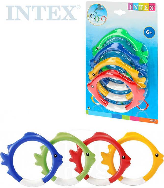 INTEX Kroužky barevné rybička do vody na potápění set 4 ks na kartě 55507