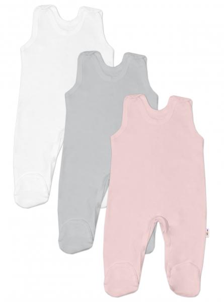 Baby Nellys Kojenecká dívčí sada dupaček BASIC - růžová, šedá, bílá - 3 ks, vel. 68 - 68 (4-6m)