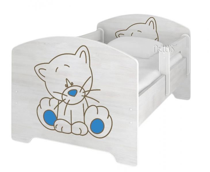 NELLYS Dětská postel Kočička modrá v barvě norské borovice + matrace zdarma - 140x70