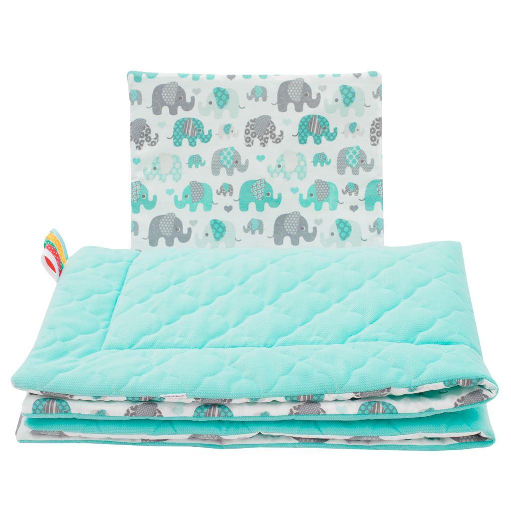 Oboustranný Set z Velvet do kočárku New Baby sloni mátový - zelená