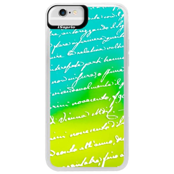 Neonové pouzdro Blue iSaprio - Handwriting 01 - white - iPhone 6/6S