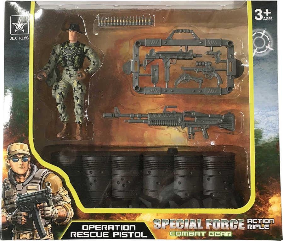 Vojenský army set figurka voják s barikádou a doplňky plast