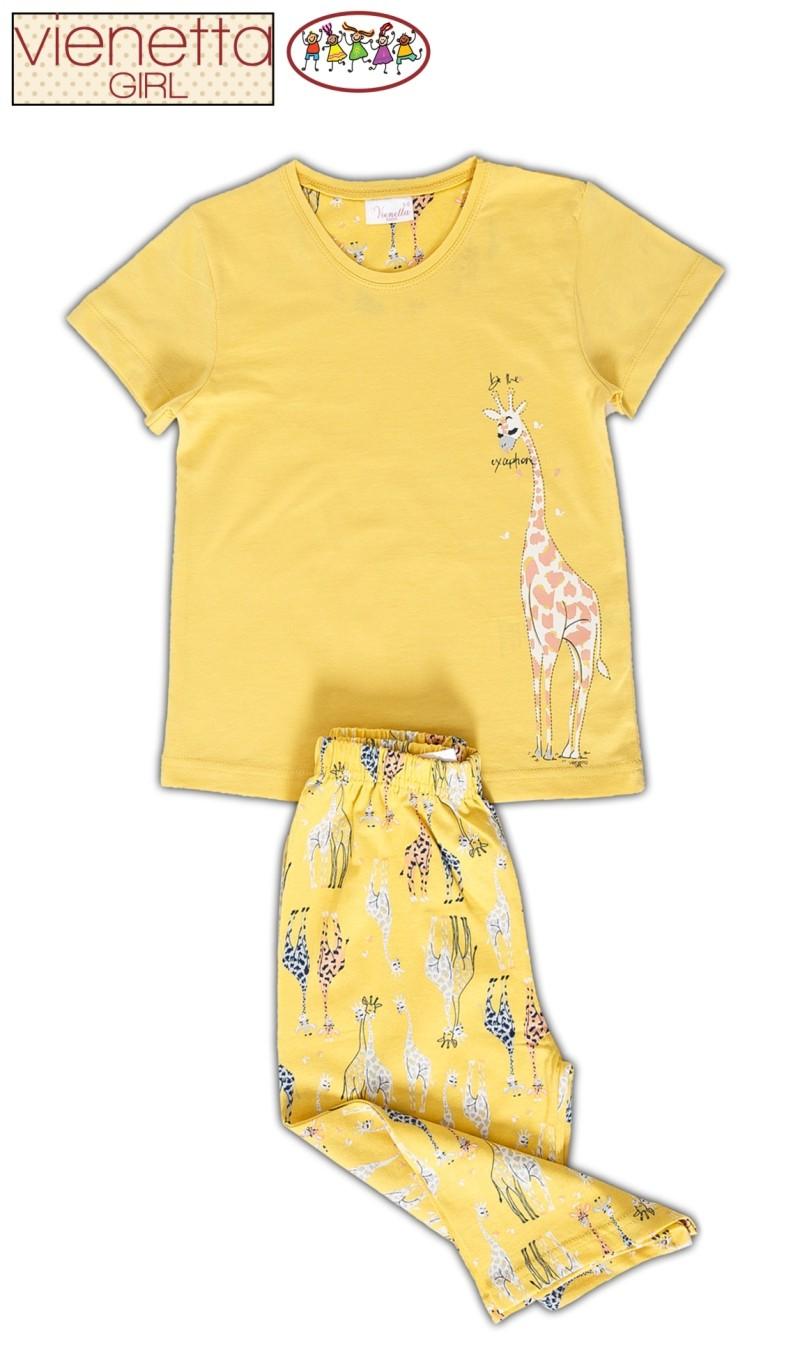 Dětské pyžamo kapri Žirafa - Žlutá