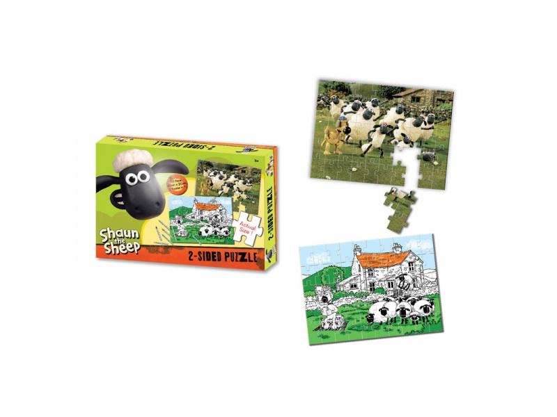 Shaun the Sheep - Oboustranné puzzle s pastelkami 50ks