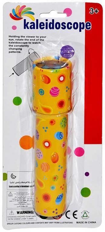 Kaleidoskop 16cm dětský krasohled různé barvy s potiskem tvrdý karton