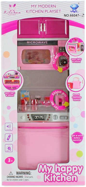 Dětská kuchyňská linka na baterie set s mikrovlnkou a myčkou Světlo Zvuk plast