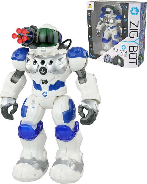 Zigybot Guliver 32cm interaktivní policejní robot funkční kanon na baterie Světlo Zvuk