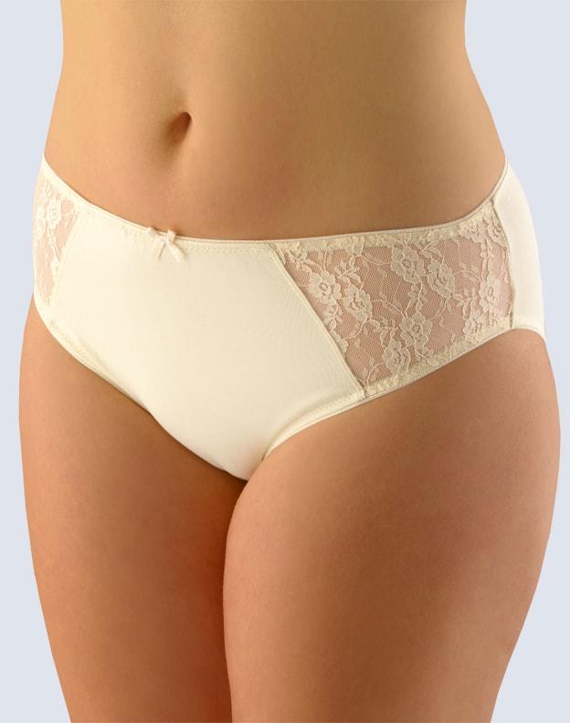 GINA dámské kalhotky klasické, širší bok, šité, s krajkou, jednobarevné 10152P - písková