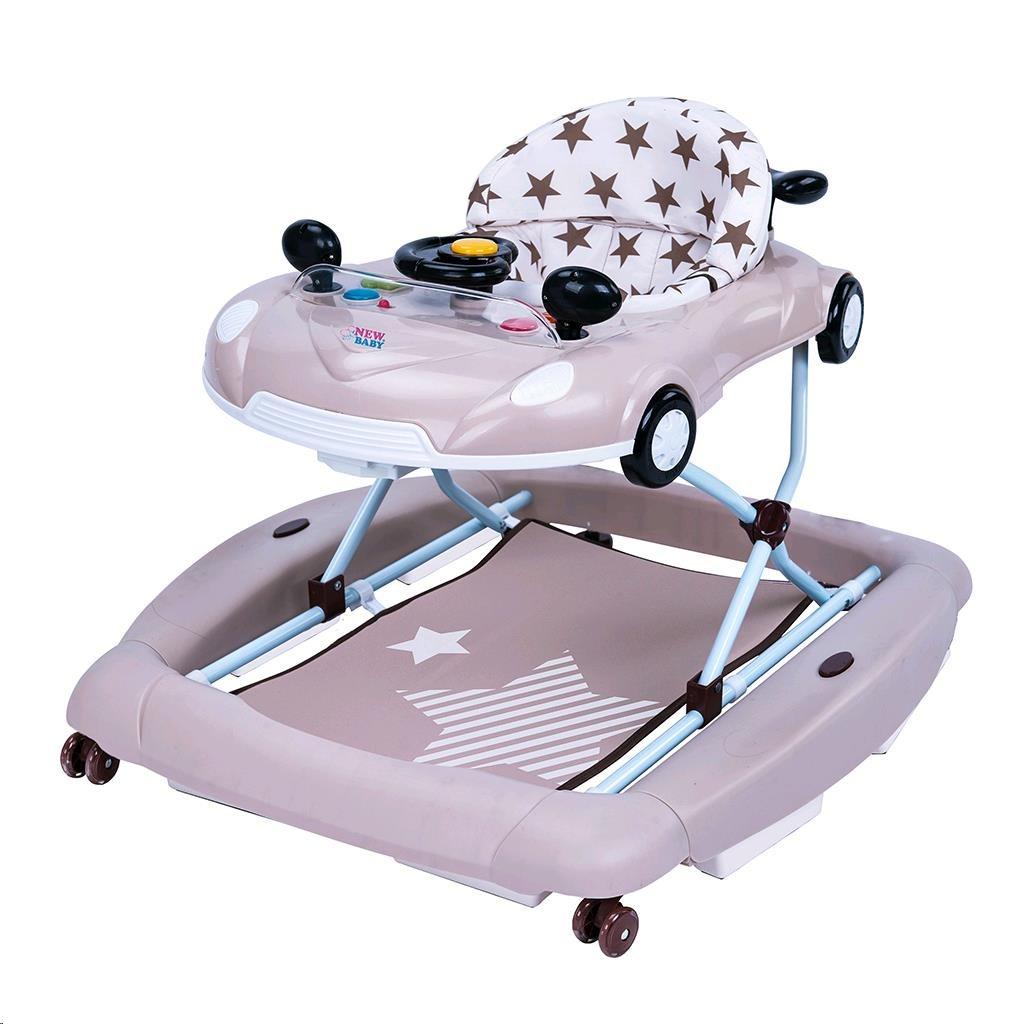 Dětské chodítko s houpačkou a silikonovými kolečky New Baby Little Racing Car - béžová
