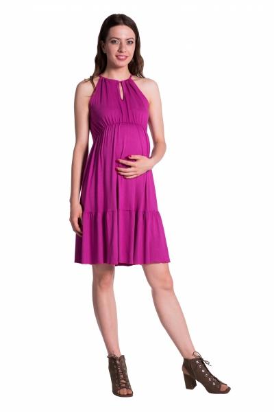 Letní těhotenské šaty na ramínkách - tmavě růžová - UNI
