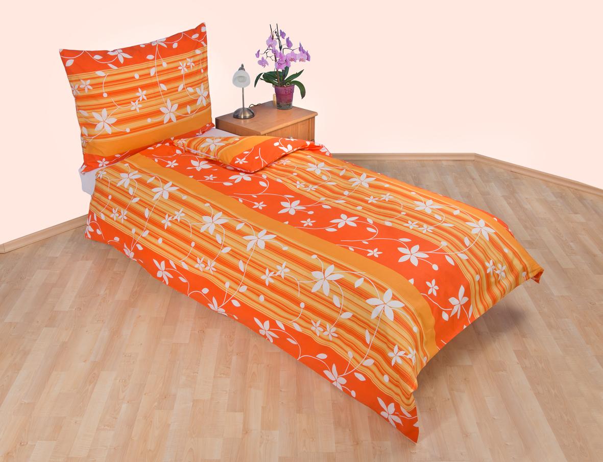 Prodloužené povlečení bavlna 140x220, 70x90cm Listy oranžové, Výběr zapínání: