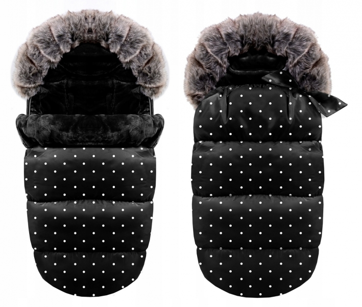 Luxusní fusák s kožíškem 4v1 ICE BABY 90x50cm - černý s puntíky