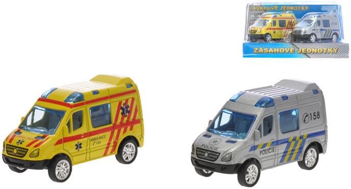 Záchranářské auto 8 cm sada 2ks Policie a Ambulance zpětný chod