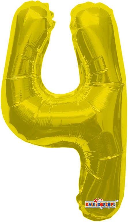 Party balonek nafukovací 35cm Číslice 4 zlatý malý foliový plnění vzduchem