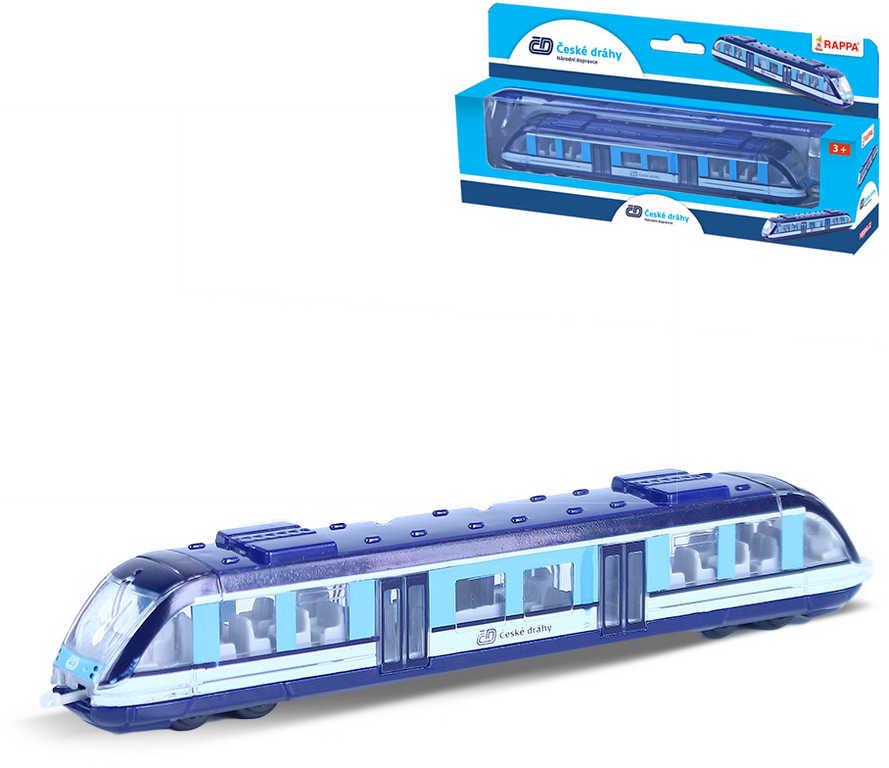 Vlak regionální České dráhy osobní vagon 17cm volný chod kov v krabici