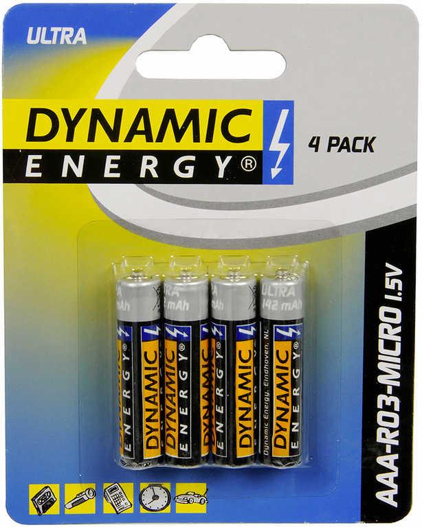 Baterie AAA R03 Mikro Dynamic Energy alkalická 1,5V set 4ks na kartě