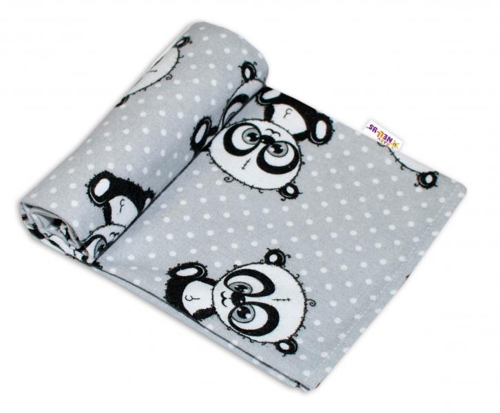 Baby Nellys Kvalitní flanelová plenka, 70x80cm - Panda šedá, puntíky