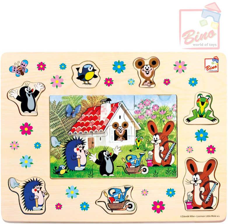 BINO DŘEVO Puzzle Veselá skládanka Krtek (Krteček) 13 dílků vkládačka 2v1